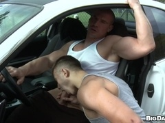 Handsome homos Max Born and Diego enjoy having sex in a car