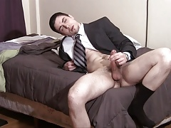 wanking in a suit and black socks