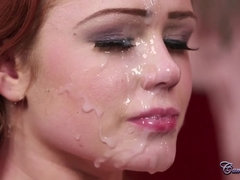 Green eyed redhead Ella Hughes gives deepthroat blowjob for cum on face