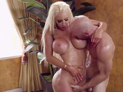 Bimbo slut Nicolette Shea fucked by her fit masseur