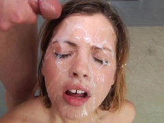 Facial cumshot compilation - pretty babes getting cum on face