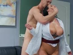 Busty brunette doctor bangs her patient in front of nurses