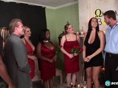 big boob sorority - big natural tits in interracial group sex orgy - cumshots