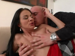 Brunette slut Naomi Lambo bends over and takes it hard from behind