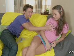 Skinny teen girl first sodomy act with handsome step brother