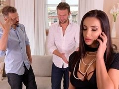 Excited glamorous brunette Alyssia Kent fucked by two big dicks
