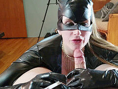 dark-hued spandex domme Smoking Fetish dirty talk and deepthroath spit on cock