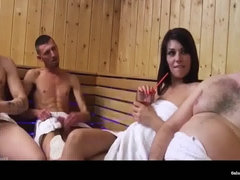 Wife get laid in the sauna while the husband calls