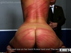 Rough spanking: Hot Babe whipped in a brutal way