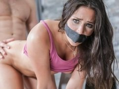 Spicy young brunette Anna Morna orally fucked by a big dick