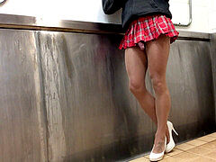 Crossdresser public toilet urinate and money-shot