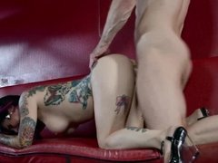 Hard fuck with creamy facial in the strip bar with Joanna Angel