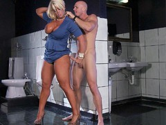 Alura Jenson jerks and sucks his shlong in the toilet