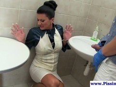 Clothed Euro whore loves pissing and fucking for sure