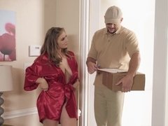 Busty bombshell Lena Paul fucks delivery guy