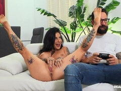 Black-haired doll with huge boobs Joanna Angel fucked by a nice penis
