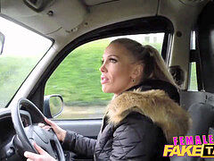 FemaleFakeTaxi Finger-fucking a fit stunner