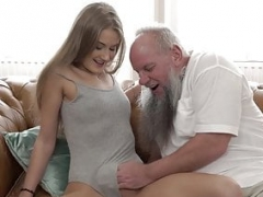 Young and fresh broad Tiffany Tatum blows love pole before fucking grandpa