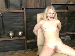 blond woman tied and vibrated