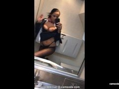 latina stewardess joins the masturbation mile high club in the lavatory