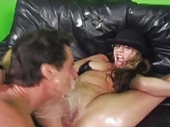 Lady masturbate in the man's mouth