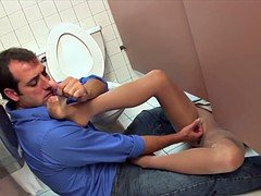 Pantyhose toilet fuck with a stranger