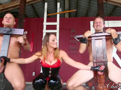 domme gives 2 gloved handjobs in the same time