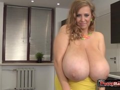 Horny Mom Shows Her Enormous Boobs