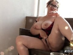 chesty kinky Maria on balcony show udders and smoking cigar