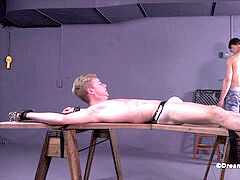 SETH STARK HAS HIS humungous TWINK COCK TORTURED BDSM queer restrain bondage ELECTROCUTION