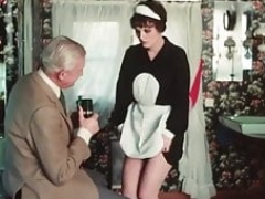 Grandad wanks over the maid befire she blows off him dry