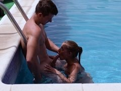 Hot Silvia Dellai has sex near the pool and gets a load on her mouth