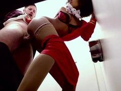 Hot Ebony stewardess sucks white dick in toilet cabin