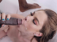 Bobbi Dylan sits her pussy down on a big black cock