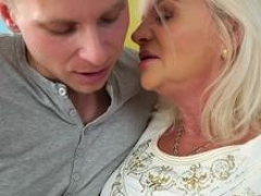 Granny is excited to suck that massive cock and get banged in different positions by this handsome folk