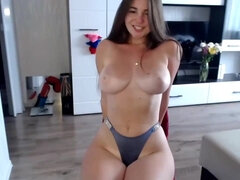 Hot young PAWG masturbating on chair - solo webcam