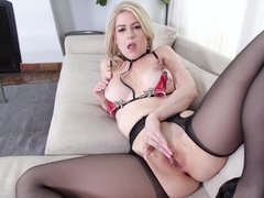 Blonde milf Kit Mercer receives a huge load all over her perfect chest