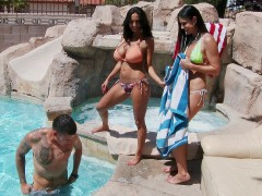 Ava Addams and India Summer seducing young guy by the pool