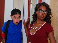 Kinky ebony angel Daya Knight opens her little hole for a white boy