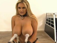Beautiful blonde with big tits plays with breast pump