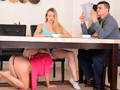 Two blondes Molly Mae and Alexis Fawx are fucking on the table