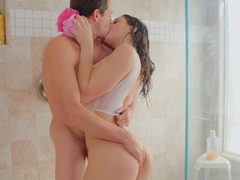 Steamy bathroom sex with lusty beauties