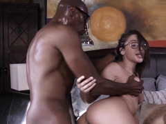 Black daddy gets hard for her young white pussy