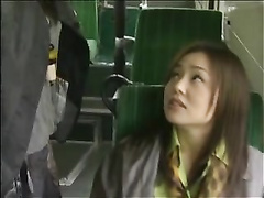 Japanese girl-on-girl bus hook-up censored