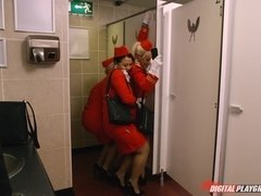 Charming stewardess Luna Corazon sucks dick and fucks in bathroom