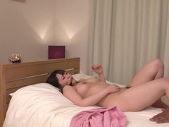 Japanese girl with nice breasts tests big black cock in action