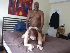 Chubby black guy banged white hooker on the bed