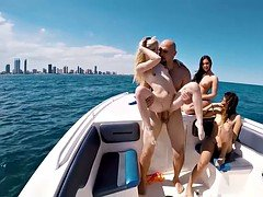 Naughty bikini babes got fucked on a boat