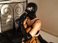 Rubber slut - pissing and additionally fucking - fragment 4-6