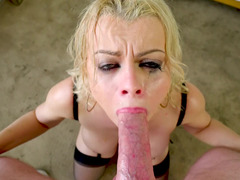 Gagging on dick makes Nadia White a sloppy mess